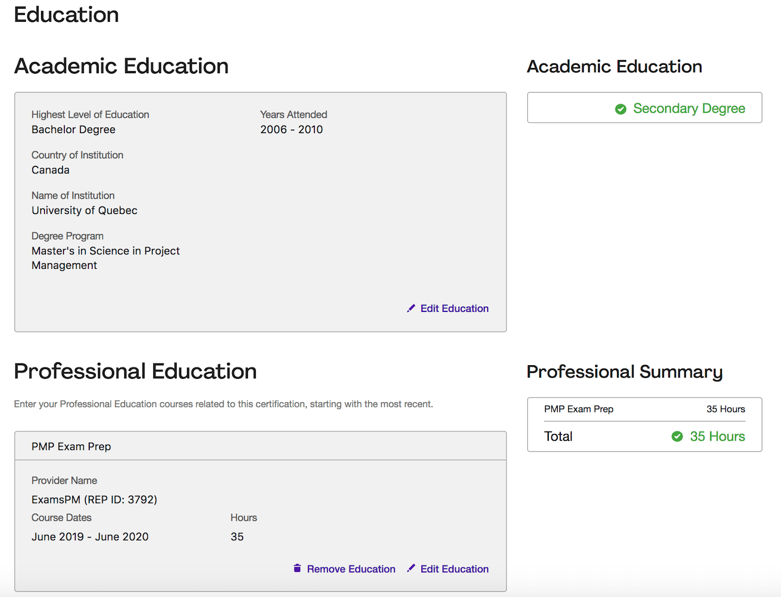 pmp application education